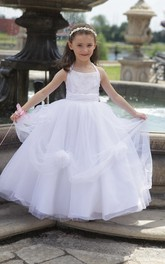 Princess Floral Tulle Halter Flower Girl Dress