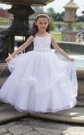 Princess Floral Tulle Halter Flower Girl Dress