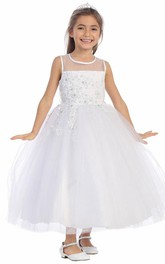 Appliqued Layers Ankle-Length Floral Lace Flower Girl Dress