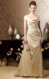 cowl-neck Satin side-ruched Mother of the Bride Dress With Zipper