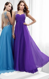 Criss cross Short Sleeve Jersey Prom Dress With Beading And Illusion