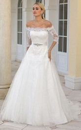 Off-the-shoulder Half Sleeve Tulle Satin Wedding Dress With Appliques
