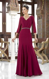 Jersey V-neck 3-4-sleeve Dress With Jeweled Waist