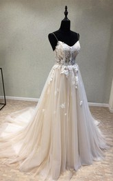 Sexy Garden Style Tulle Spaghetti A-line Sleeveless Wedding Dress with Appliques