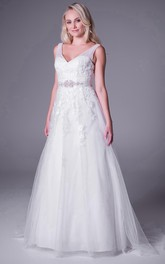 Tulle V-neck Sleeveless Appliqued Wedding Dress With Sweep Train
