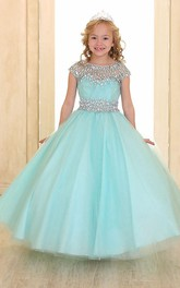 Scoop-neck Beaded Cap-sleeve Ball Gown flower girl Dress
