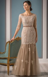 Appliqued Dropped Waist Fishtail Half-Sleeved Mother Of The Bride
