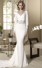 sheer V-neck Long Sleeve Jersey Dress With Beading And Court Train