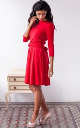 Bateau 3-4-sleeve Knee-length Dress With back bow
