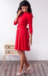 Bateau 3-4-sleeve Knee-length Dress With back bow