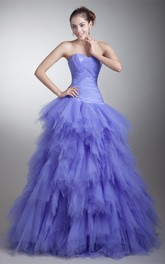 Strapless Ruffles Tiered A-Line Criss-Cross Ball Gown