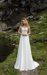 Elegant Illusion Lace Chiffon Bridal Gown