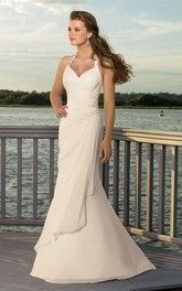 Halter Bridal V-Neckline Column Chiffon Dress