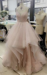 V-neck Tulle Sleeveless Floor-length Pleats Ruffles Dress