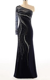 Chiffon Beaded Sequined Long-Sleeve One-Shoulder Dress