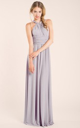 Haltered Sleeveless Floor-length Dress With Pleats And bow