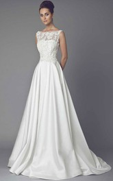 Bateau A-line Satin Appliqued Wedding Dress With Illusion And Sweep Train