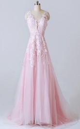 Lace Appliqued Low V Back V-Neckline A-Line Dress