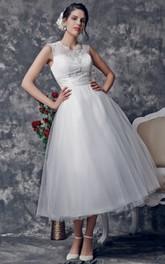 Bridal Illusion Back 3-4-Length Vintage Dress