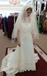 Lace Hemline Lace Cape A-Line Satin Dress