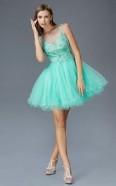 A-Line Illusion Ruffled Appliqued Short Mini Sleeveless Scoop-Neck Tulle Dress