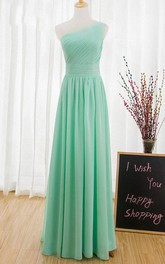 One-shoulder Sleeveless Chiffon long Dress With Pleats  And Ruchings