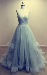 Long Ruffled A-Line Sweetheart Organza Dress