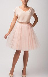 V-neck Short Sleeve Tulle A-line short Dress