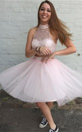 Rhinestoned Two-Piece Tulle Halter Lovely Cocktail Short Dress