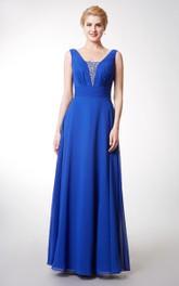Sleeveless Rhinestone Inspire Deep-V-Back Chiffon Gown