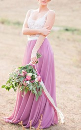 Two-tone Strapped Floor-length Dress With Lace top And Low-V Back