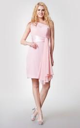 Short Side Draping One-Shoulder Vibrant Dress