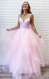 Spaghetti Satin Tulle Sleeveless Floor-length A Line Prom Dress