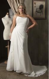 Strapless Chiffon side-draped plus size wedding dress With Corset Back