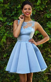 Bateau Satin Sleeveless Short Button Illusion Homecoming Dress with Lace