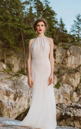 Column Bridal Sleeveless Halter-Neckline Chiffon Dress