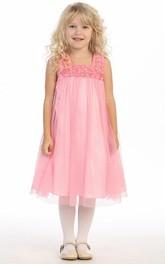 High-Waist Jeweled Bateau-Neck Satin Flower Girl Dress