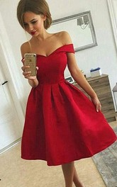 Sleeveless A-line Tea-length Off-the-shoulder Ruching Satin Homecoming Dress