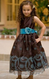 Organza Satin Sash Floral Embroidered Flower Girl Dress