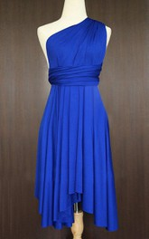 One-shoulder Pleated Knee-length short Dress