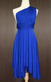 One-shoulder Pleated Knee-length short Dress
