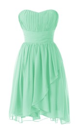 Pleated Ruched Band Sweetheart Strapless Short Dress
