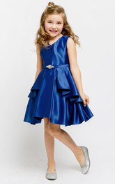 Beaded Sash Short-Midi Slit Flower Girl Dress