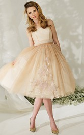 Strapless A-line Knee-length Tulle Dress With bow And Flower