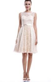 Strapped Lace Midi-Length Short Sleeveless Dress