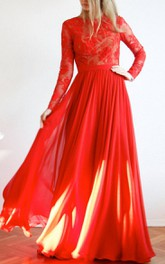 Jewel-Neck Lace Long Sleeve Chiffon Floor-length Dress With Keyhole back
