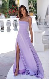 A Line Sleeveless Satin Sexy Open Back Zipper Evening Dress with Split Front