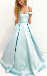 Off-the-shoulder Satin Short Sleeve Floor-length Pleats Dress
