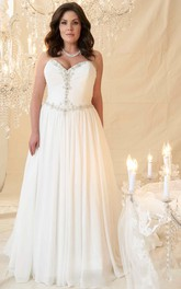 Sweetheart Chiffon Ruched A-line Dress With Beading And Corset Back