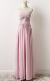 Ruched Sweetheart Chiffon long Bridesmaid Dress With Corset Back